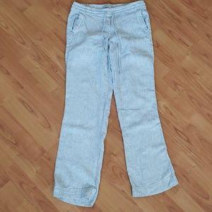 Dalia linen blend blue white stripe pants